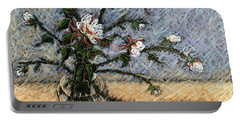 White And Red Dahlias Portable Battery Charger