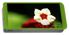 White And Red Flower Portable Battery Charger