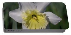 White And Yellow Daffodil Portable Battery Charger