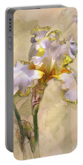 White And Yellow Iris Portable Battery Charger