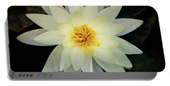 White And Yellow Water Lily Portable Battery Charger