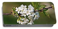 White Apple Blossoms Portable Battery Charger