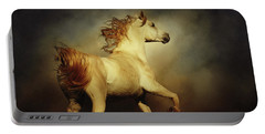 White Arabian Horse With Long Beautiful Mane Portable Battery Charger