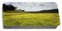 White Barn And Yellow Fields Portable Battery Charger by Mark Alder