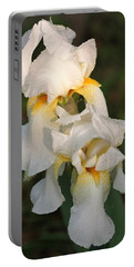 Portable Battery Charger featuring the photograph Two White Bearded Iris At Dusk by Sheila Brown