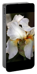 Portable Battery Charger featuring the photograph White Bearded Iris by Sheila Brown