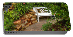 Portable Battery Charger featuring the photograph White Bench In The Garden by Rosalie Scanlon