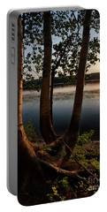 Portable Battery Charger featuring the photograph White Birch And Kennebec River At Sunset, So.gardiner Me #8360-63 by John Bald