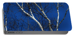 White Birch Blue Sky Portable Battery Charger by Smilin Eyes  Treasures