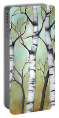 White Birch Portable Battery Charger by Inese Poga