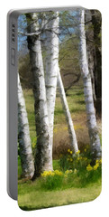 White Birch Trees And Jonquils Portable Battery Charger