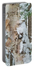 White Birch With Snow Portable Battery Charger