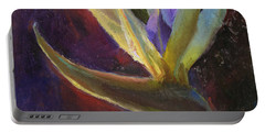 Portable Battery Charger featuring the painting White Bird Of Paradise -tropical Flower Painting by Karen Whitworth