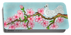 White Bird On Branch With Pink Flowers, Painting Portable Battery Charger