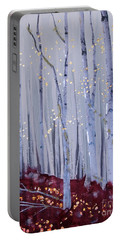 Portable Battery Charger featuring the painting White Bird by Stanza Widen