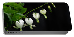 Portable Battery Charger featuring the photograph White Bleeding Hearts by Susan Capuano