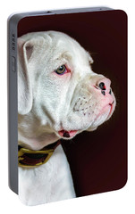 Portable Battery Charger featuring the photograph White Boxer Portrait by Dawn Romine