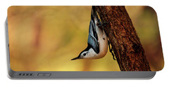 White-breasted Nuthatch Portable Battery Charger by Darren Fisher