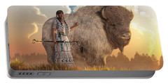 White Buffalo Calf Woman Portable Battery Charger by Daniel Eskridge