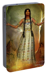Portable Battery Charger featuring the digital art White Buffalo Calf Woman by Shadowlea Is