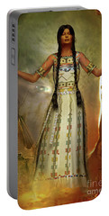White Buffalo Calf Woman Portable Battery Charger by Shadowlea Is