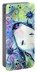 Portable Battery Charger featuring the painting White Bull Terrier And Butterfly by Zaira Dzhaubaeva