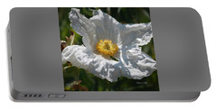 White Cactus Flower Portable Battery Charger