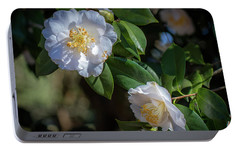 Portable Battery Charger featuring the photograph White Camelia 02 by Gregory Daley  PPSA