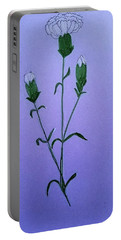White Carnations Portable Battery Charger