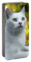 White Cat Portrait Portable Battery Charger