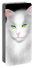 White Cat Portable Battery Charger by Salman Ravish