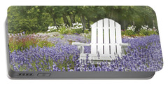 Portable Battery Charger featuring the photograph White Chair In A Field Of Lavender Flowers by Brooke T Ryan