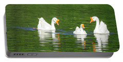 White Chinese Geese Portable Battery Charger