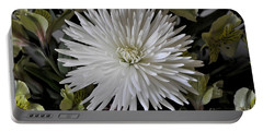 White Chrysanthemum Portable Battery Charger