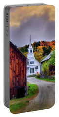 Portable Battery Charger featuring the photograph White Church In Autumn - Waits River Vermont by Joann Vitali