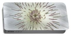 White Clematis Flower Macro 50121c Portable Battery Charger