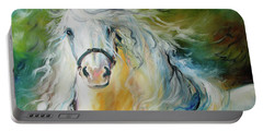 White Cloud The Andalusian Stallion Portable Battery Charger by Marcia Baldwin