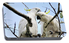 White Cockatoos Portable Battery Charger by Kaye Menner