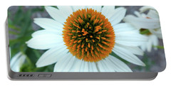 White Cone Flower Portable Battery Charger