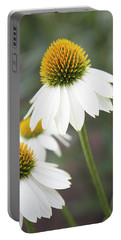 White Coneflower Portable Battery Charger