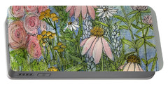 White Coneflowers In Garden Portable Battery Charger by Laurie Rohner