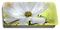 White Cosmos Floral Portable Battery Charger