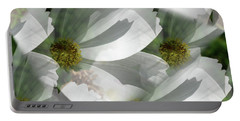 White Cosmos Petals Portable Battery Charger