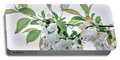 White Crabapple Blossoms Portable Battery Charger