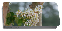 Portable Battery Charger featuring the photograph White Crepe Myrtle by Maria Urso