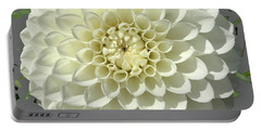 Portable Battery Charger featuring the photograph White Dahlia by Robin Maria Pedrero