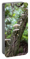 White Deer Mushrooms Portable Battery Charger by Christopher L Thomley
