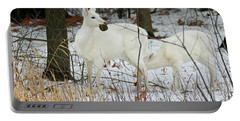 White Deer With Squash 2 Portable Battery Charger by Brook Burling