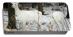 White Deer With Squash 4 Portable Battery Charger by Brook Burling