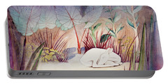 White Doe Dreaming Portable Battery Charger